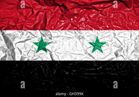 Syria vintage flag on old crumpled paper background - Stock Photo