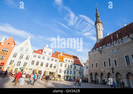 Tallinn, Estonia - May 1, 2016: Panorama of the central Town Hall Square in Tallinn with tourists walking on Raekoja - Stock Photo