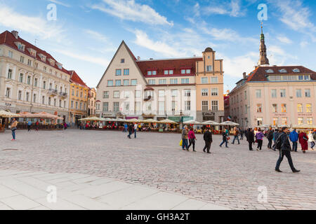 Tallinn, Estonia - May 1, 2016: Raekoja plats. Panorama of the central Town Hall Square in Tallinn with walking - Stock Photo
