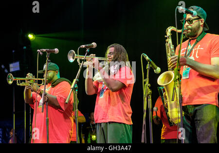 Members of the Hot 8 Brass Band performing at the WOMAD Festival, Charlton Park, Malmesbury, Wiltshire, England, - Stock Photo