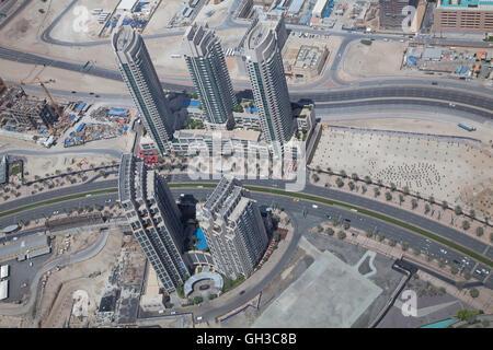 DUBAI, UAE - APRIL 27: Downtown Burj Dubai April 27, 2014 in Dubai, United Arab Emirates. Dubai is biggest city - Stock Photo