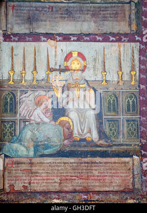 Ancient frescos in the Westminster abbey in London, UK - Stock Photo