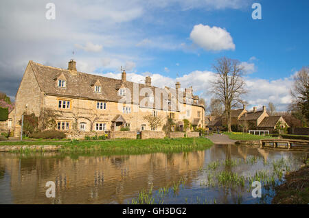 Ancient village 'Lower Slaughter' in the Cotswolds region - Stock Photo