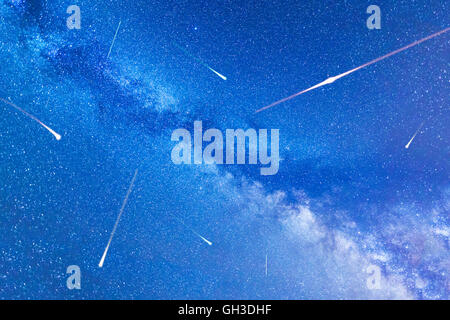 A view of the stars of the Milky Way. Night sky nature summer landscape. Meteor Shower. Falling stars. Comets. Perseid - Stock Photo
