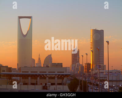 RIYADH - FEBRUARY 29: Sunrise overof Riyadh downtown on March 01, 2016 in Riyadh, Saudi Arabia. - Stock Photo