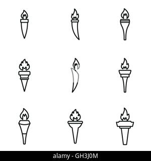 Vector line torch icon set on white background - Stock Photo