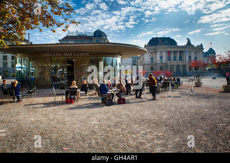 People Enjoying a Coffee or Tea Outdoors in a Square Early Fall, Theater Strasse, Zurich, Switzerland - Stock Photo