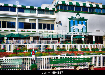 Low Angle Frontal View of the Monmouth Park Racetrack Main Pavilion, Oceanpark, New Jersey - Stock Photo