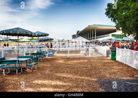 Outdoor Private Boxes with Benches at the Racetrack, Monmouth Park Racetrack Oceanport, New Jersey - Stock Photo