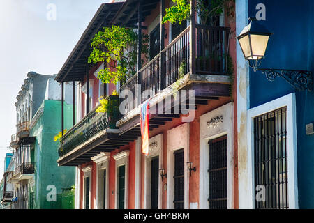 Low Angle View of an Old San Juan Street in Atmospheric Light, Calle San Sebastian,  Puerto Rico - Stock Photo