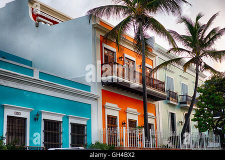 Low Angle View of Colorful Spanish Colonial Houses, Old San Juan, Puerto Rico - Stock Photo
