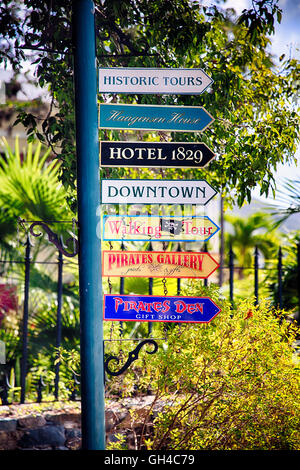 Directional Signs to Major Tourist Attractions, Charlotte Amalie, St Thomas, US Virgin Islands - Stock Photo