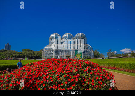 CURITIBA ,BRAZIL - MAY 12, 2016: nice view of the greenhouse, it is a metallic structure surrounded by geometrical - Stock Photo