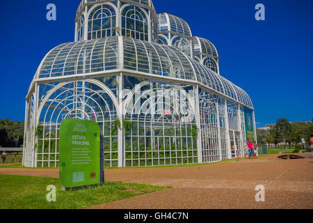 CURITIBA ,BRAZIL - MAY 12, 2016: nice side view of the metallic structure of the greenhouse in the botanical graden - Stock Photo