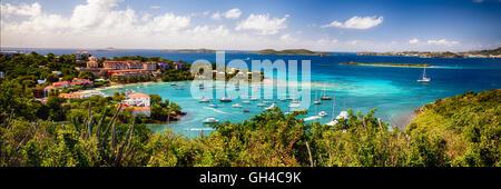 High Angle Panoramic View of a Bay with Boats anchored, Cruz Bay Harbor, St John, US Virgin Islands - Stock Photo