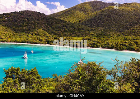 High Angle View of a Tropical Beach with Turqouise Waters, Maho Bay, Virgin Island National Park, St John, USVI - Stock Photo