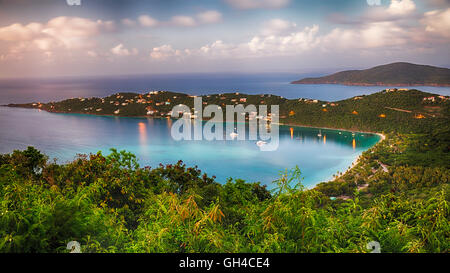 High Angle View of The Magens Bay After Sunset, St Thomas, US Virgin Islands - Stock Photo