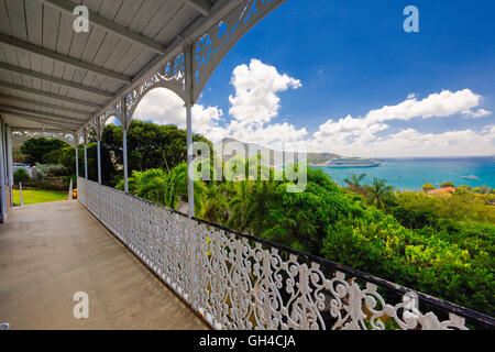High Angle View from a Balcony of a Harbor with a Cruise Ship, Villa Notman, Charlotte Amalie, St Thomas, US Virgin - Stock Photo
