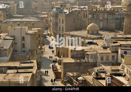 geography / travel, Azerbaijan, view towards the of the UNESCO to the world heritage pronounce old town of Baki, - Stock Photo
