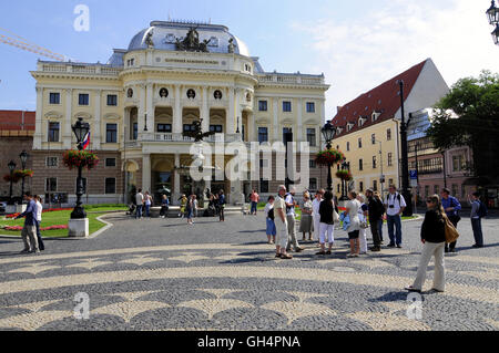 geography / travel, Slovakia, tourists in front of the Slovaks national theatre (Slovenske narodne divadlo), Bratislava - Stock Photo