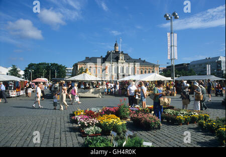 geography / travel, Finland, market in front of the city hall of Kuopio, Finnish lakeland area, Karelia, Finland, - Stock Photo