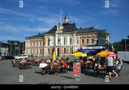 geography / travel, Finland, cafe in front of the city hall of Kuopio, Finnish lakeland area, Karelia, Finland, - Stock Photo