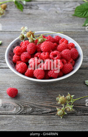 fresh raspberry in bowl  close-up - Stock Photo