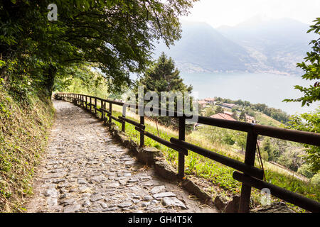 Typical street of Monte isola. Sulzano, Lombardy. Italy - Stock Photo