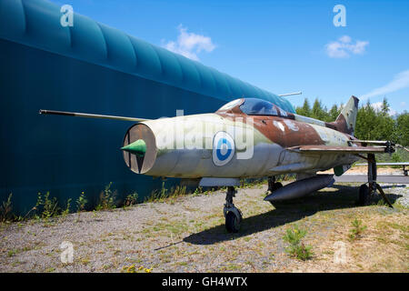 A MIG-21 F 13 jet fighter as decoy plane on ground, Finland - Stock Photo