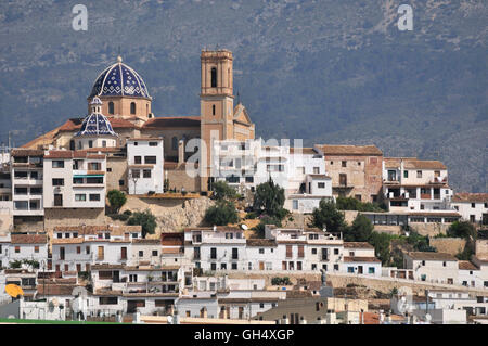 geography / travel, Spain, view from the harbour on the old town of Altea with the church Nuestra Senora del Consuelo, - Stock Photo