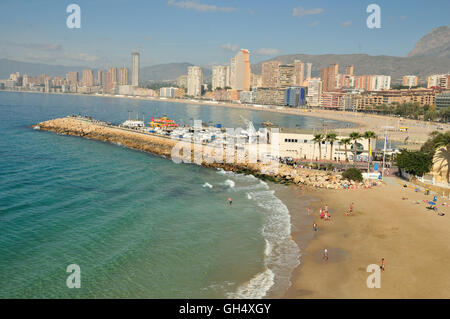 geography / travel, Spain, promenade of Benidorm, Costa Blanca, Additional-Rights-Clearance-Info-Not-Available - Stock Photo