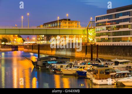 geography / travel, Germany, North Rhine-Westphalia, Cologne, city view, Rheinauhafen (Rheinau harbour) at dusk, - Stock Photo