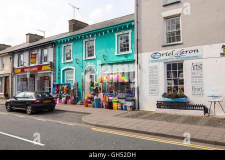 Shops on Market Street in Aberaeron, Ceredigion, Wales, UK - Stock Photo