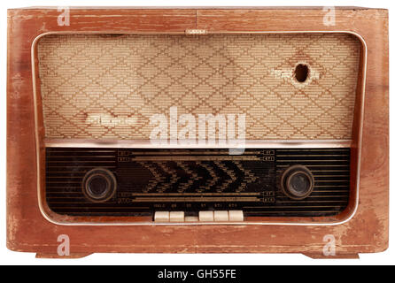Old Wooden Radio Tuner Cutout - Stock Photo