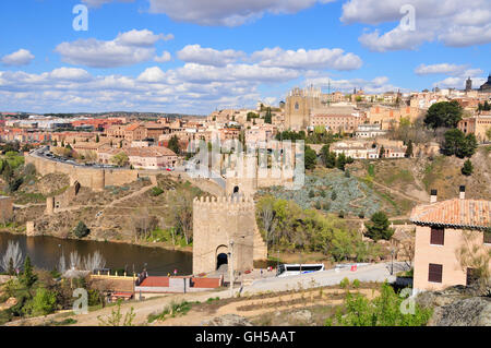 geography / travel, Spain, view across the Tagus on the old town of Toledo, in the foreground the Puente de San - Stock Photo