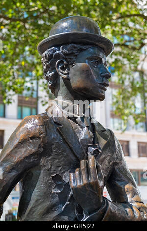 Charlie Chaplin statue Leicester Square West End London UK - Stock Photo