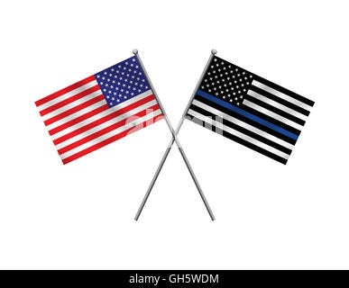 An American flag and police support flag isolated on a white background. Vector EPS 10 available. - Stock Photo