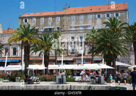 The Riva, the waterfront promenade in Split, Croatia - Stock Photo