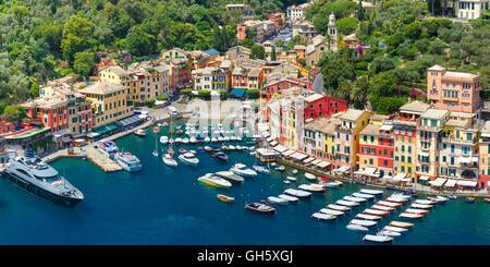 Panorama of Portofino, Italian Riviera, Liguria - Stock Photo