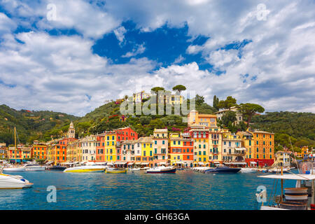 Panorama of Portofino, Italian Riviera, Liguria - Stock Photo