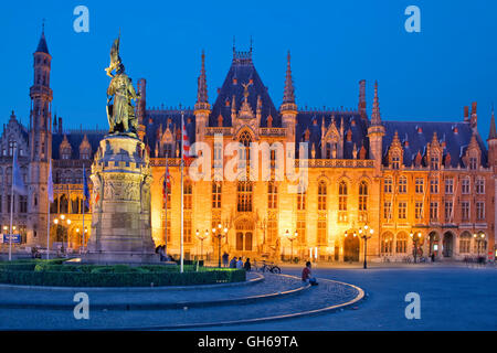The Grand Place (Markt) in Bruges, Belgium - Stock Photo