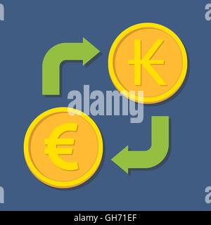 Currency exchange. Euro and Kip. Vector illustration - Stock Photo