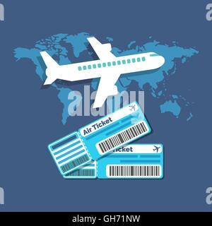 Traveling, Ticket booking concept. Flat design stylish. Isolated on color background - Stock Photo