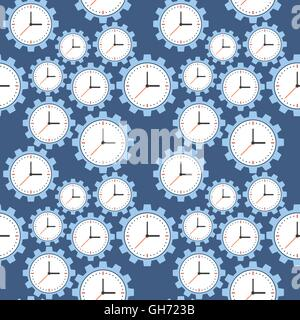 Seamless pattern. Cogwheels and clocks over blue background. Vector Illustration - Stock Photo