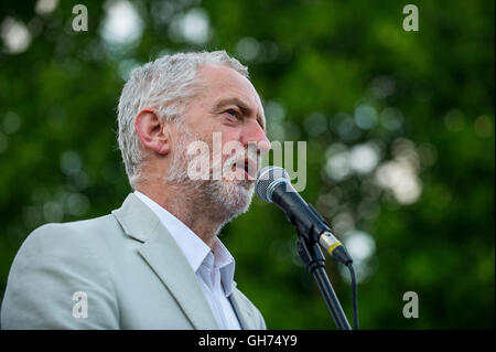 Labour Party leader Jeremy Corbyn addresses his supporters in Bristol during a re-election campaign rally. - Stock Photo