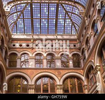 Portholes and skylight in the atrium of the 1886 Northwestern Mutual Life Insurance Company Home Office in Milwaukee, - Stock Photo