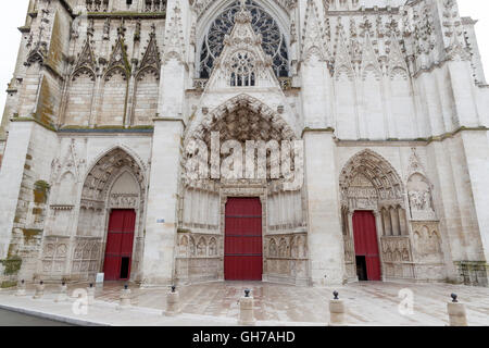 West facade of Cathedral Saint-Etienne. - Stock Photo