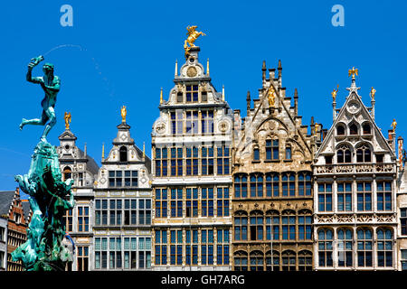 Fountain and historic buildings in Grote Markt square in Antwerp, Belgium - Stock Photo