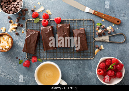 Brownies on a cooling rack - Stock Photo