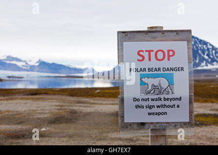 Polar bear warning sign at Svalbard / Spitsbergen, Norway - Stock Photo
